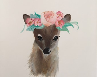 Unframed whimsical deer art print