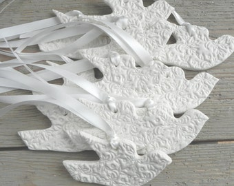 Olive Branch Imprinted Wedding / Baptism Natural Dove Salt Dough Ornaments Set of 6