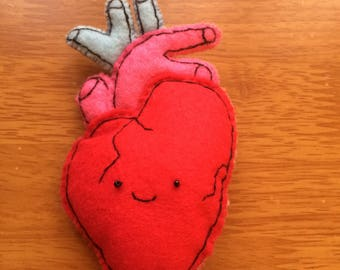 Anatomical human heart, pop art handmade felt stitched brooch pin