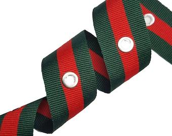 Striped Gross grain Red Green Trim Ribbon with Silver Eyelets, Double Face Trim, DIY Choker Trim, DIY Belt Trim