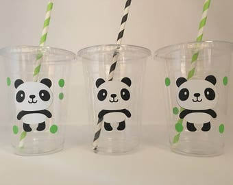 Panda party cups, Panda Birthday Party cups, Panda Baby Shower, Panda Bear Party, Bear Party Cups