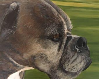 Custom Boxer Pet Portrait Painting on Canvas
