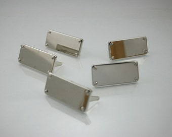 Blank Metal Name Tags Metal Labels Luggage Tags Studs Silver Tone 14x31 mm. N 0196 5 pcs.