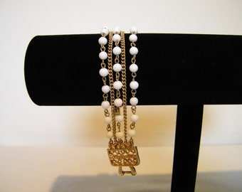 Vintage Coro White Bead Chain 5 Strand Bracelet