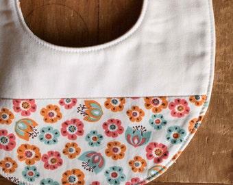 Baby Girl Drool Bib; Floral, Organic Cotton Baby Bib for Girls; Modern Teething Bib Gift; Baby Shower Gift for Nursing Moms; Tulip Toss