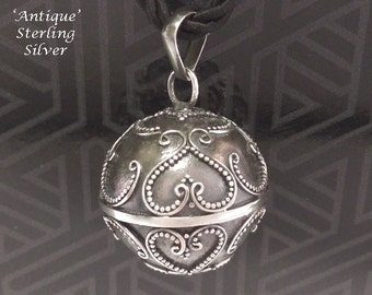 Harmony Ball Balinese Hearts Designs Antique Finish 925 Sterling Silver Chime Ball | Bola Necklace, Pregnancy Gift 739