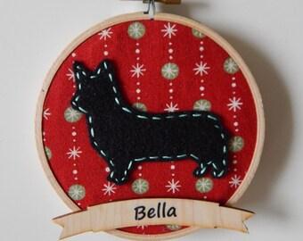 "4"" Holiday Corgi Embroidery Hoop Ornament"