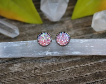 Surgical Steel Earrings Druzy Earrings Pink Bridesmaid Earrings Pink Earrings Bridesmaid Jewelry Gifts for Her Pink Jewelry Danity Earrings
