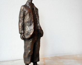 Home sculpture, Мodern sculpture, Bronze sculpture, Bronze statue of  Little boy , Limited edition, Small sculptural plastic