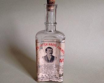 Antique medicine bottle with cork & label - Miller's witch hazel liniment - Allentown, PA