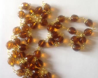 Long topaz crystal glass beaded necklace flapper necklace long necklace Beaded necklace crystal necklace brown necklace
