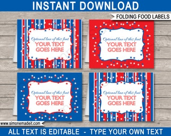 July 4th Food Labels - Buffet Tags - Tent Cards - Party Decorations - INSTANT DOWNLOAD with EDITABLE text - you personalize at home