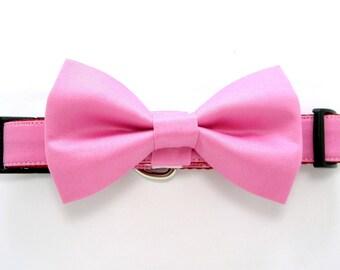Wedding dog collar- Light Fuchsia Dog Collars with bow tie set  (Mini,X-Small,Small,Medium ,Large or X-Large Size)- Adjustable