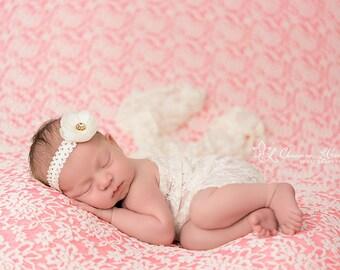 Stretch Lace Wrap Ivory Cream Newborn Photography Prop Baby