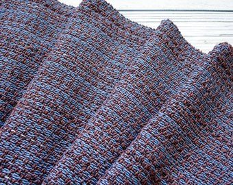 Handwoven Cotton Scarf - Brown Blue Scarf - Spring Scarf - Women Scarf