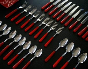 40 piece Vintage Red Bakelite Tableware