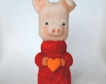 NEEDLE FELTED PIG wearing a Bright Coral Colored  Sweater / Made in Maine by Caryn Burwood of Purple Moose Felting