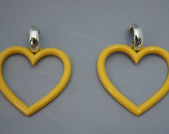 Yellow Metal Heart Open Center Pierced Earrings