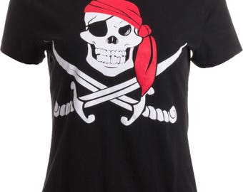 Jolly Roger Pirate Flag | Skull & Crossbones Buccaneer Costume Ladies' T-shirt