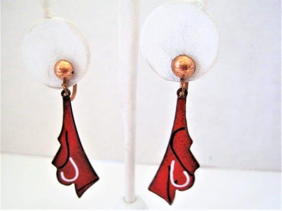 Copper Mid Century Earrings, Red Enamel, Mid Century, Screw Backs