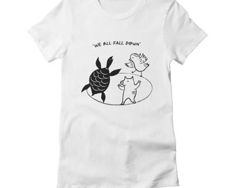 We All Fall Down - Women's / Girl's - fitted T-shirt / Tee - Black and White - Women's Apparel