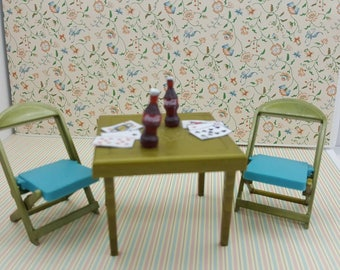 Renwal Card and Games Table and  Folding Chairs  Toy Furniture Doll House mint condition Card table Blue and gold Hard Plastic