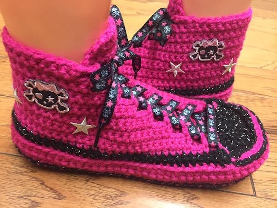 pink 8 tennis skulls sneakers slippers 10 shoe 241 sneaker pink slippers skull black sneakers skull Womens skull Crocheted slippers pink 0pnfxqf