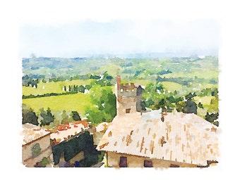 Tuscany Printable Artwork: Chianti watercolor, Tuscany watercolor, Italy landscape, aerial landscape, Italian countryside, Tuscan artwork