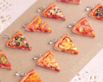 Mini PIZZA CHARM / PENDANT, Miniature Food Jewelry, Pepperoni, Vegetarian Pizza Necklace