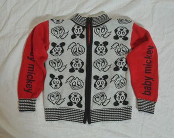 Vintage Childrens Mickey Mouse Baby Mickey Zipper Front Sweater
