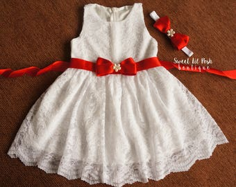 White lace girl dress, flower girl dress, lace flower girl dress, flower girl dresses, junior bridesmaid dress, baby lace dress, lace dress