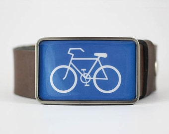 Bicycle Belt Buckle, Sport Belt Buckle, Blue belt buckle, biker gift idea