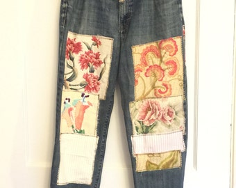 womens upcycled embellished patched denim jeans mens size 33 all vintage