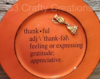 Definition of Thankful charger, Thanksgiving Decor, Fall Decor, Thankful Gift, Thanksgiving Charger, Thanksgiving Plate, Thankful Decor
