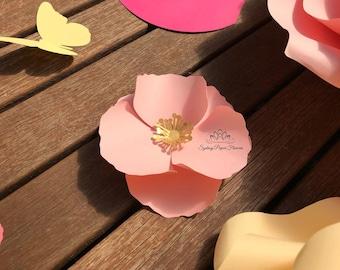 Tiny POPPY Paper Flower Template & Tutorial manual/svg pdf CriCut Silhouette Cameo DIY paper flower pattern/Paper flower centre download fil