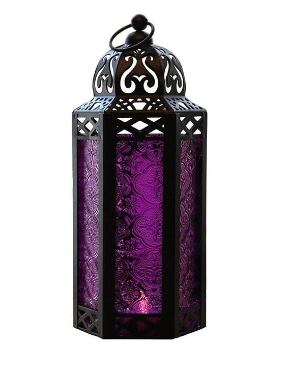 Purple Glass Hexagon Moroccan Lantern