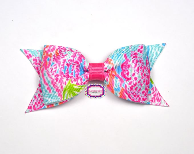 """Lets Cha Cha Bow ~ 3.5"""" Hairbow ~ Lilly Inspired ~ Small Hair Bow ~ Girls Barrette ~ Toddler Bow ~ Hair Clip ~ Girls Hair Bow"""