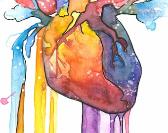 Human Heart Original Painted Print