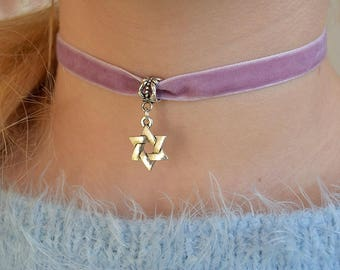 Jewish choker Charm Choker necklace Velvet choker 90s choker for women grunge Judaica Star of David Jerusalem Magen David jewelry Summer
