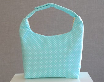 Insulated Lunch Bag, Polka Dot Lunch Bag, Lunch Bag,Girls Lunch Bag,School Lunch Bag, Work Lunch Tote, Snack Tote, Aqua Blue White Polka Dot
