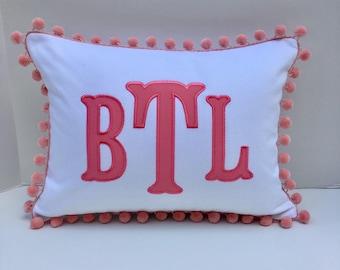 Monogrammed Appliqué Pom Pom Pillow Cover
