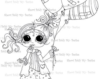 INSTANT DOWNLOAD Digital Digi Stamps Big Eye Big Head Dolls img258 By Sherri Baldy