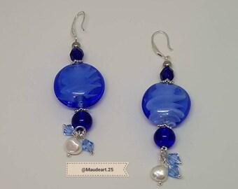 Blue glass & crystal earring, white pearl