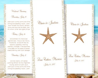 "Destination Wedding Itinerary Template ""Starfish"" Beach, Tropical, Hawaiian Theme Word.doc Instant Download 8.5 x 11 DIY You Print"