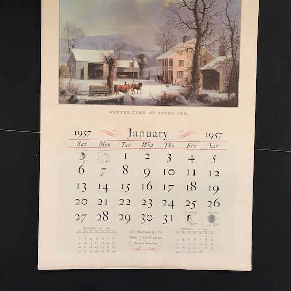Vintage 1957 Wall Calendar Currier & Ives Travelers Insurance
