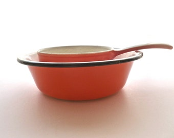 Kitchenware, Pot and Pan, 1970'sVintage Orange Kitchenware, Made in Belgium, 1970's Descoware Enamal, Glamping Supplies