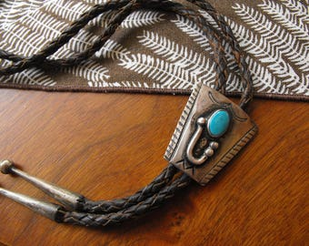 1960s Sterling Turquoise Navajo Made Bolo Tie, Arizona Southwest