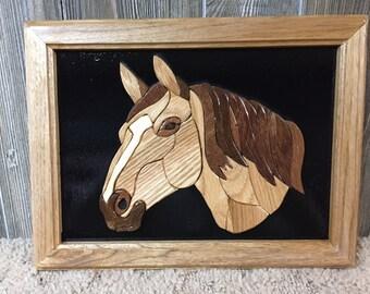 Intarsia-Horse Head - Framed