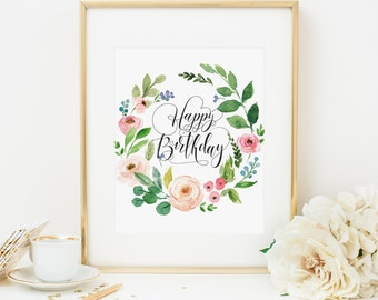 Happy Birthday Printable Pink Floral Happy Birthday Poster Birthday Party Decoration Girl Birthday Party Female Birthday Party Poster 233