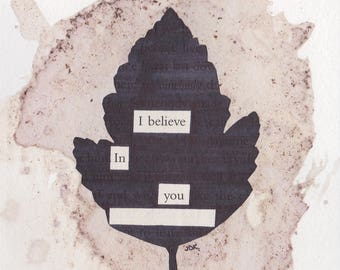 "I Believe in You  - Blackout Poetry and Tea (4""x6"" Print) from The Hobbit Collection"